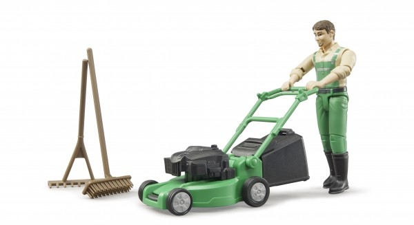 bworld Gärtner mit Rasenmäher und Gartengeräten