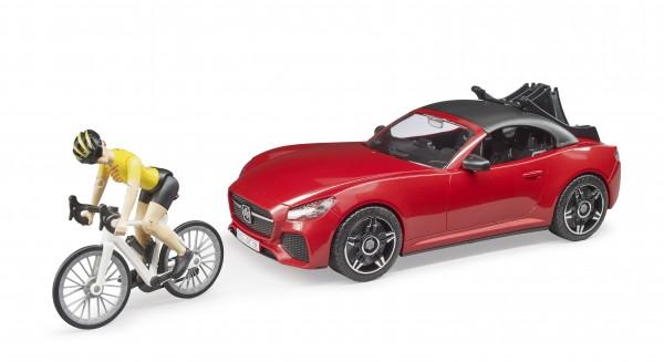 BRUDER Roadster mit Rennrad und Radfahrerin