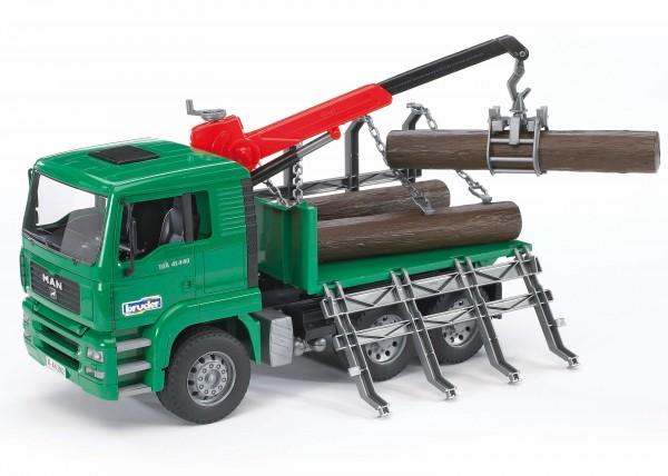 MAN Holztransport-LKW mit Ladekran und 3 Baumstämmen