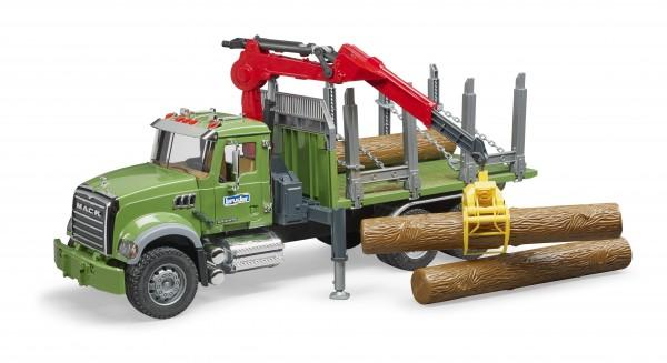 MACK Granite Holztransport-LKW mit Ladekran, Greifer und 3Baumstämmen