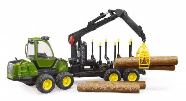 John Deere 1210E Rückezug mit 4 Baumstämmen und Holzgreifer
