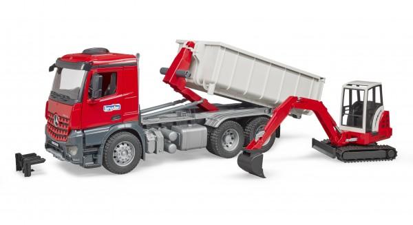 MB Arocs LKW mit Abrollcontainer und Schaeff Minibagger