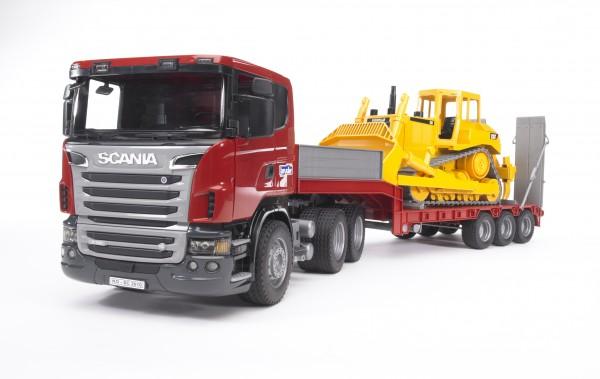 SCANIA R-Serie LKW mit Tieflader und Cat® Bulldozer