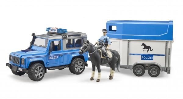 Land Rover Defender Polizeifahrzeug,Pferdeanhänger, 1 Pferd und Polizist