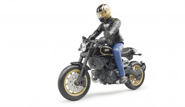 Scrambler Ducati Cafe Racer mit Fahrer