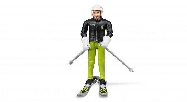 Skifahrer mit Zubehör