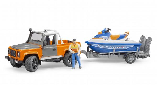 Land Rover Defender Station Wagon mit Anhänger, Personal Watercraft und Fahrer