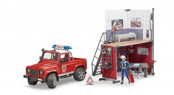 bworld Feuerwehrstation mit Land Rover Defender