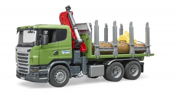 SCANIA R-Serie Holztransport-LKW mit Ladekran, Greifer und 3Baumstämmen