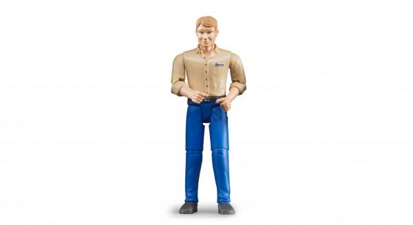 Mann mit hellem Hauttyp und blauer Hose