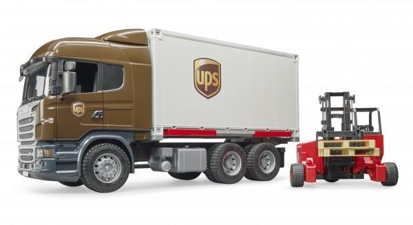 Scania R-Serie UPS Logistik-LKW mit Mitnahmestapler
